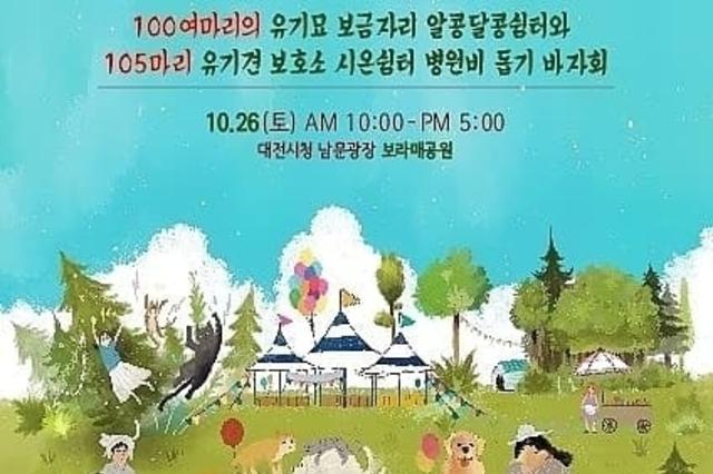 시온쉼터는 다가오는 10월 26일 유기묘와 유기견의 병원비 돕기 바자회를 진행한다.